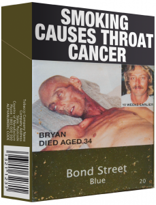"Cigarette package with drab green color and graphic warning ""smoking causes throat cancer."""
